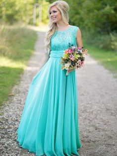 Scoop Neck Lace Chiffon Floor-length Ruched New Style Bridesmaid Dresses - dressesofgirl.com