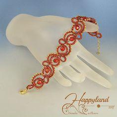 Red and gold Tatting Jewelry, Thread Jewellery, Tatting Patterns, Micro Macrame, Henna, Jewlery, Beads, Tattoos, Creative