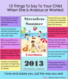10 things to say to your anxious child #parenting #schoolcounseling @DrLynneKenney