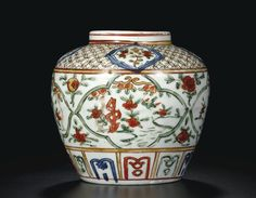 wucai jar, Wanli mark and period Glass Ceramic, Ceramic Art, Oriental Furniture, Japanese Porcelain, Chinese Ceramics, Ginger Jars, Chinese Antiques, Chinese Art, Decoration