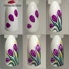 30 easy floral nail art ideas perfect for spring A bouquet of tulips also isn't as hard as you think. Take it step by step people. We've gathered some of the finest nail art designs. You should definitely check them all out. Coupon Michaels Arts And Craft Floral Nail Art, Nail Art Diy, Easy Nail Art, Cool Nail Art, Diy Nails, Cute Nails, Flower Nail Designs, Nail Designs Spring, Nail Art Designs