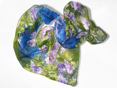 Silk Scarf long - Lilac Flowers - hand painted scarves - violet lilac lila flowers blue scarf