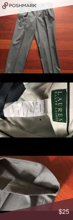 """Lauren Ralph Lauren Dress Slacks LRL men's dress slacks 36/32. Charcoal grey subtle hint of blue in this houndstooth pattern. Pleated in front. Cuffed on bottom 1.5"""". In great condition only been worn a handful of times. Just got them dry cleaned so they're good to go! Thanks for looking! Lauren Ralph Lauren Pants Dress"""
