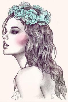 Les fleurs du mal by katiebloo Inspiration de pause feminine. Dessins, illustration.