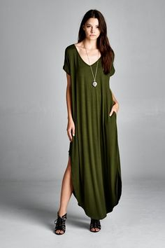 Amazingly comfortable pocket maxi T dress! Black and Olive available #dress #pockets #gypsyoutfitters