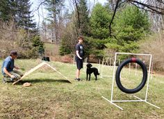 """We made a basic agility course with PVC, pipes and screws. Cost us less than $100!  """"Dog Agility Equipment Construction"""" by Ann Embry."""