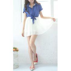 Shirt Collar Short Sleeve Chiffon Dress for under $20 | RoseGal.com