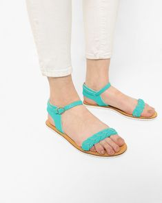AJIO Blue Synthetic Slingback Flat Sandals with Braided Straps #Blue#Sythetic#Flats#Casual