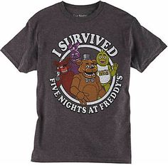 Five Nights At Freddy's I Survived Charcoal Youth Tee - Radar Toys