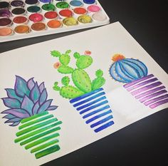 Hand painted watercolor succulents by SideHustleDesigns on Etsy https://www.etsy.com/listing/488688866/hand-painted-watercolor-succulents