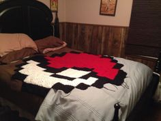 Granny square blanket.  Pokemon pokeball. Crochet. Nerdy projects.