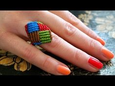 A Multicolored Macrame Square Ring - Simple Tutorial [DIY]. How to make a colorful macrame ring? A video tutorial for a multicoloured macrame square ring that is beautiful without any beads or gemstones and very comfortable to wear. Macrame Rings, Macrame Necklace, Macrame Knots, Macrame Jewelry, Macrame Bracelets, Wire Earrings, Wire Jewelry, Handmade Jewelry, Ring Tutorial