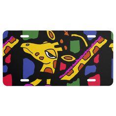 Giraffe Art Abstract License Plate #giraffes #art #animals #license #plates And www.zazzle.com/inspirationrocks*
