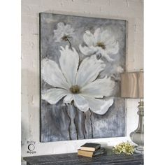 The art enthusiast in you is sure to love the Uttermost White Magic Wall Art . Hand crafted on canvas that's stretched tightly over wooden stretching. Metal Tree Wall Art, Large Wall Art, Canvas Wall Art, Large Canvas Art, Large Flowers, White Flowers, White Magic, Acrylic Art, Painting Inspiration