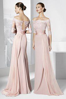 Sheath/Column Off-the-shoulder Floor-length Chiffon Mother of the Bride Dress