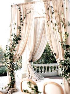 Elegant Gold + Ivory Wedding Inspiration Ceremony Arbor with Ivy Wedding Ceremony Ideas, Ceremony Backdrop, Ceremony Decorations, Wedding Themes, Wedding Table, Wedding Arches, Outdoor Ceremony, Head Table Backdrop, Wedding Draping