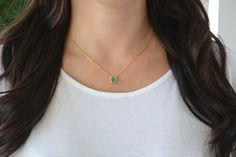 Green mint stone necklace. High quality gold filled small stone necklace. Green…