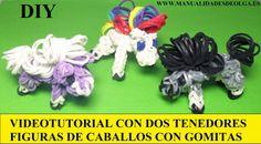 COMO HACER UN CABALLO DE GOMITAS (LIGAS) (HORSE CHARMS) CON DOS TENEDORES.  sin rainbow loom ni similar, utilizando un telar casero.