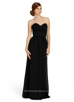 Black crinkle chiffon A-line strapless long bridesmaid gown has strapless sweetheart neckline, long chiffon skirt flares with natural waist ruched details. <br><br><br>