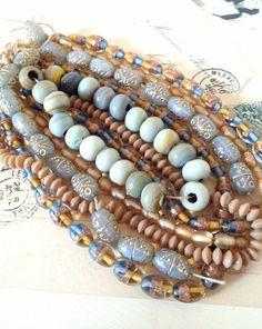Large Mixed Glass Bead De Stask Bulk Lot - Foils, Lentils, Milky, Lampwork, in Lovely Beach Seaside Tones - Jewellery Art & Sewing Supplies