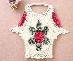 tie dyed crochet women top lace floral por Tinacrochetstudio