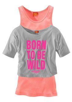 BUFFALO Buffalo Shirt & Top (Set, 2-tlg.), für Mädchen grau orange