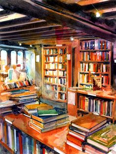 Interior Bookshop Acuarela 17x12in (420x297mm)  by John Walsom