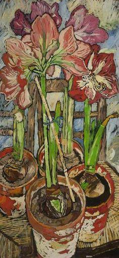 Four Amaryllis in Pots - John Bratby