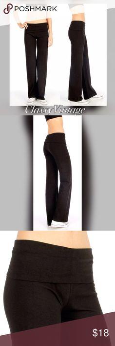 Jet black cotton blend yoga pants Fold over waist jet black yoga pants. Super soft and stretchy cotton blend. Boutique Pants Track Pants & Joggers