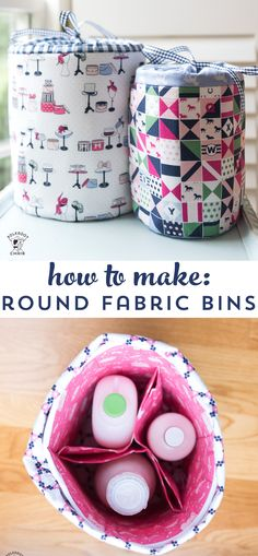 Learn how to make fabric storage bins with this sewing pattern. Round padded storage bins, great for organization projects! #fabricbins #fabricstorage #fabricbasket #sewingpattern #DIYBasket