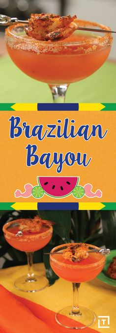 Made with fresh watermelon puree, cachaca, and lime juice, the Brazilian Bayou cocktail is perfect for helping you sip your way through summer. Refreshing Summer Cocktails, Spring Cocktails, Easy Cocktails, Summer Drinks, Cocktail Recipes, Spicy Drinks, Alcoholic Drinks, Vitamix Recipes, Yummy Recipes