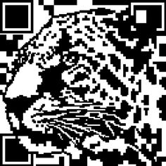 QR Code that forms the shape of a leopard. This cheeky, fun and beautiful wall decoration has a slight touch of rebellion.