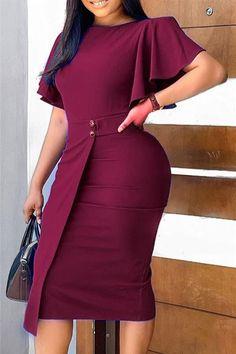 Short African Dresses, Short Sleeve Dresses, Secretary Outfits, Purple Long Sleeve Dress, Cute Dresses, Dresses Dresses, Straight Dress, Dress With Sneakers, Elegant Outfit