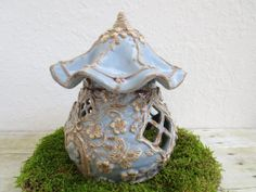 Discounted Ceramic Fairy House Woodland Fairy Home or Toad Abode House Miniature Garden Art Ready to Ship