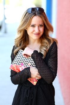 The cutest little black romper paired with the cutest clutch bag! Get the clutch here: http://createandcase.com/clutch-bags/139-chevron-flora-ii.html