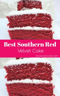The BEST Red Velvet Cake Recipe. Homemade *TRIED AND TRUE* Southern red velvet cake made from scratch the old-fashioned way. Easy recipe with homemade cream cheese icing. Moist and fluffy! Red Velvet Cake Rezept, Bolo Red Velvet, Best Red Velvet Cake, Red Celvet Cake, Homemade Red Velvet Cake, Red Velvet Birthday Cake, Red Velvet Cake Recipe With Coffee, Paula Deen Red Velvet Cake Recipe, Red Velvet Cake Recipe From Scratch