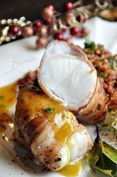Monkfish roast with brown rice in saffron sauce - Doria's cuisine - Rice Recipes Shellfish Recipes, Seafood Recipes, Dinner Recipes, Veggie Recipes, Cooking Recipes, Rice Recipes, Salty Foods, Fish And Seafood, I Love Food