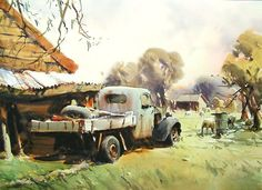 By Ross Paterson - Australia Watercolor Artists, Watercolor Landscape, Landscape Paintings, Landscapes, Pictures To Paint, Art Pictures, Photos, Australian Painters, Australian Artists