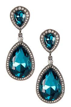 Double Teardrop Stone Lined Earrings