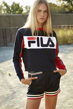 Retailer Urban Outfitters is collaborating with sportswear brand Fila for an exclusive collection. Dipping into their archives, Fila has taken their inspiration from the and to give the designs a vintage look. Mode Outfits, Sport Outfits, Fashion Outfits, Dress Fashion, Sport Fashion, Look Fashion, Womens Fashion, Fashion Images, Trendy Fashion
