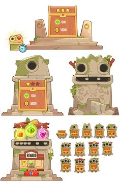 King of thieves by Nikita Bulatov on Behance Game Gui, Game Icon, 2d Game Art, Video Game Art, Level Design, Gui Interface, Mobiles, Casual Art, Game Ui Design