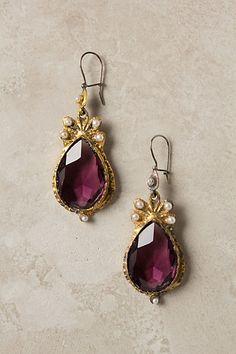 Turkish style purple, gold drop earrings