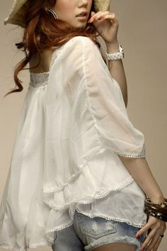 Sweet Square Lace Neckline Long Wide Sleeve Detail Blouse  $26.00