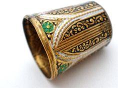 Antique Enamel Continental Thimble Taille de Epargne Green Flower Hand Painted   eBay