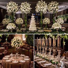 """790 curtidas, 8 comentários - Constance Zahn (@constancezahn) no Instagram: """"Com grandes arranjos em verde e branco, a mesa do bolo foi o destaque da decoração que…"""""""