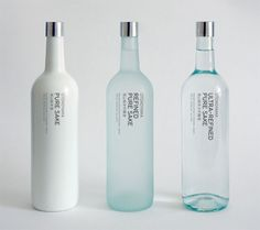 Sake bottles - different opacities to correspond to different refinement levels. Type is extremely simple so as not to distract from the product itself.