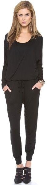 $198, Black Jumpsuit: Feel The Piece Dolman Jumpsuit. Sold by shopbop.com. Click for more info: http://lookastic.com/women/shop_items/53385/redirect