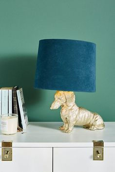 Dasher Dog Table Lamp Featuring a dashing Dachshund base, this table lamp satisfies both a love of d Tall Floor Lamps, Dog Table, Unique Table Lamps, Tabletop Christmas Tree, Unique Lighting, Decorative Lighting, Lighting Uk, House Lighting, Lighting Design