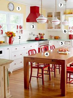 Retro Home: Retro Kitchen - Kitchen Decor Ideas - Country Living Kitchen Redo, Kitchen Dining, Kitchen Remodel, Kitchen Cabinets, Kitchen Paint, Kitchen Ideas Red, Red Kitchen Decor, Kitchen Country, Happy Kitchen