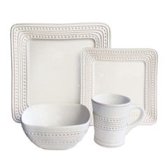 American Atelier Bianca Dotted Square 16-Piece Dinnerware Set in White - BedBathandBeyond.com